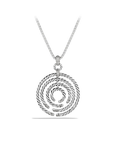 David Yurman Willow Medium Pendant with Diamonds on Chain
