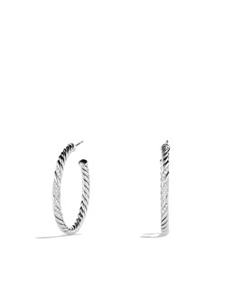 David Yurman Willow Medium Hoop Earrings with Diamonds