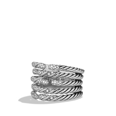 David Yurman Willow Five-Row Ring with Diamonds