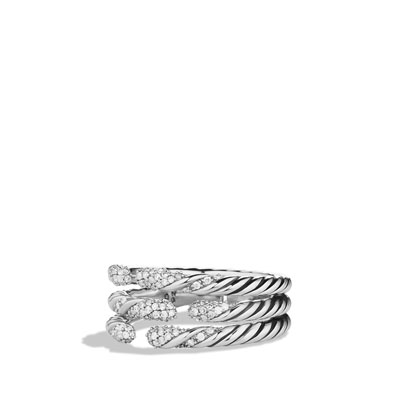 David Yurman Willow Three-Row Ring with Diamonds