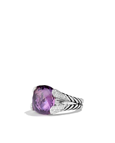 Color Cocktail Ring with Amethyst and Diamonds