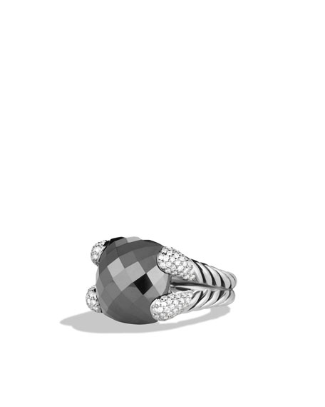 Color Cocktail Ring with Hematine and Diamonds