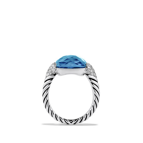 Color Cocktail Ring with Blue Topaz and Diamonds
