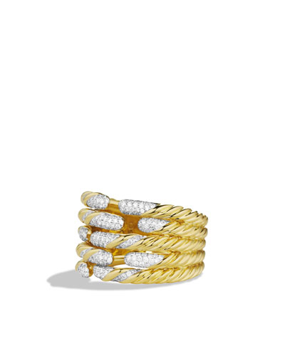 David Yurman Willow Open Five-Row Ring with Diamonds in Gold