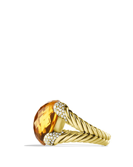 Color Cocktail Ring with Citrine and Diamonds in Gold