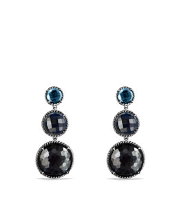 David Yurman Chatelaine Triple-Drop Earrings with Hematine and Crystal