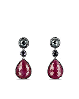 David Yurman Chatelaine Triple-Drop Earrings with Ruby and Hematine