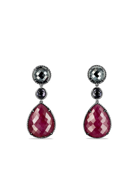 Ruby Moonlight Triple-Drop Earrings with Ruby and Hematine