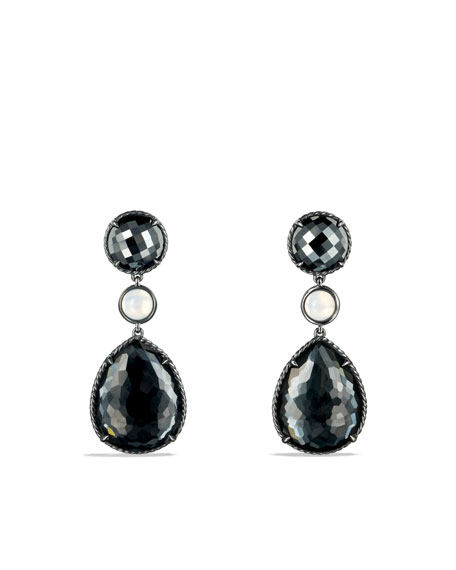 David Yurman Grisaille Triple-Drop Earrings with Hematine and Crystal