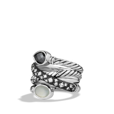 David Yurman Grisaille Crossover Ring with Hematine, Moon Quartz, and Diamonds