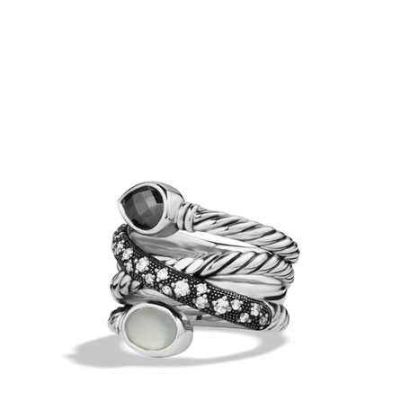 David Yurman Grisaille Crossover Ring with Hematine, Moon