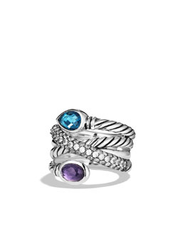 David Yurman Ultramarine Crossover Ring with Hampton Blue Topaz, Black Orchid, and Gray Sapphires