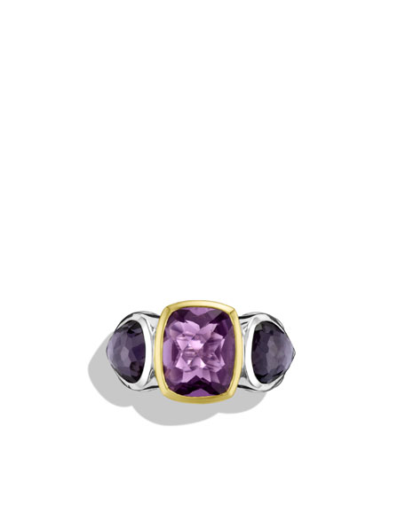 Mosaic Three-Stone Ring with Amethyst, Black Orchid, and Gold