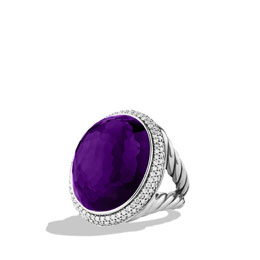 David Yurman DY Signature Oval Ring with Black Orchid and Diamonds
