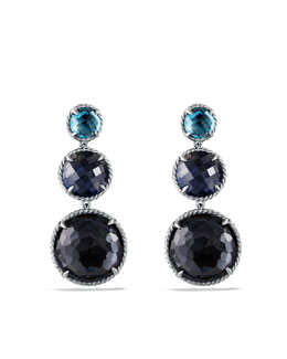 David Yurman Chatelaine Triple-Drop Earrings with Black Orchid, Blue Sapphire and Hampton Blue Topaz