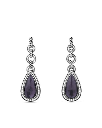 David Yurman Anjou Drop Earrings with Black Orchid and Diamonds