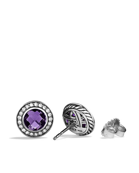 Cerise Mini Earrings with Amethyst and Diamonds