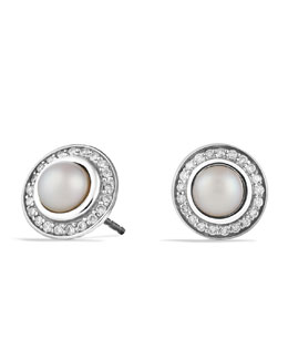 David Yurman Cerise Mini Earrings with Pearls and Diamonds
