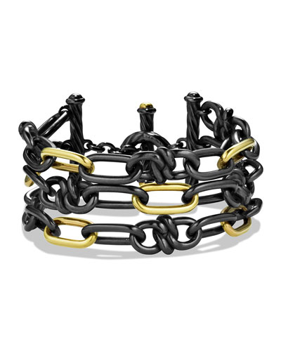 David Yurman Black & Gold Link Bracelet