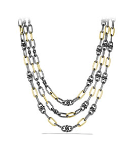 David Yurman Black & Gold Three-Row Link Necklace with Gold