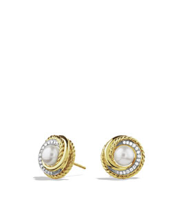 David Yurman Crossover Earrings with Pearls and Diamonds in Gold