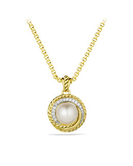 David Yurman Pearl Crossover Pendant with Diamonds in Gold