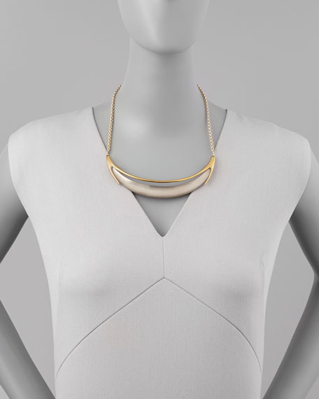 Neo Boho Minimalist Crescent Lucite Necklace, Gray