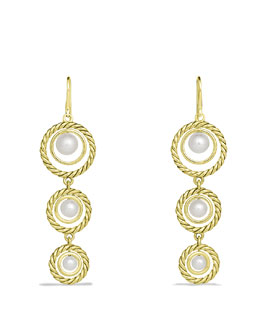 David Yurman Cable Pearl Triple-Drop Earrings in Gold