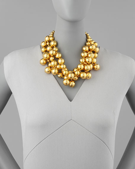 Golden Beaded Cluster Necklace