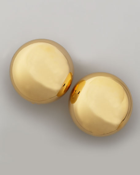 Shiny Golden Circle Clip-On Earrings