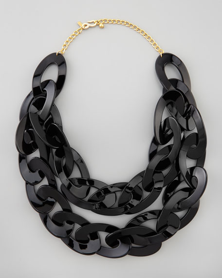 Double-Strand Enamel Link Necklace, Black
