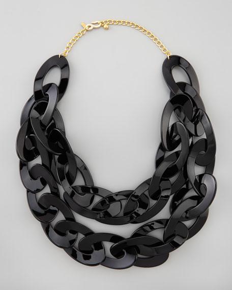 Double-Strand Enamel Link Necklace, Black