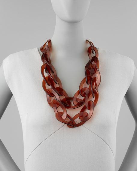 Double-Strand Enamel Link Necklace, Tortoise
