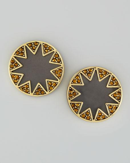 Crystal Starburst Stud Earrings, Black