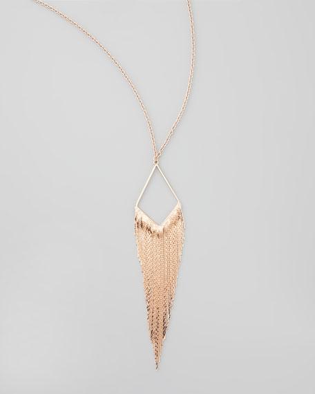 Coachella Chain-Fringe Necklace, Rose Gold