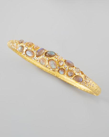 Small Labradorite Caviar Pave Bracelet