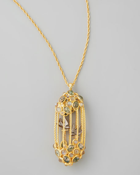 Sanctuary Bird Cage Pendant Necklace