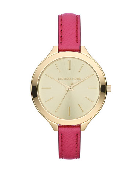 Mid-Size Pink Leather Runway Three-Hand Watch