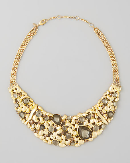 Large Flex Pyrite Bib Necklace