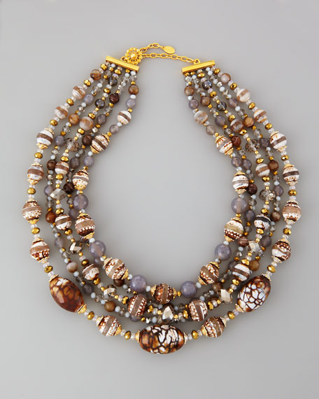 "Multi-Strand Natural Necklace, 39""L"