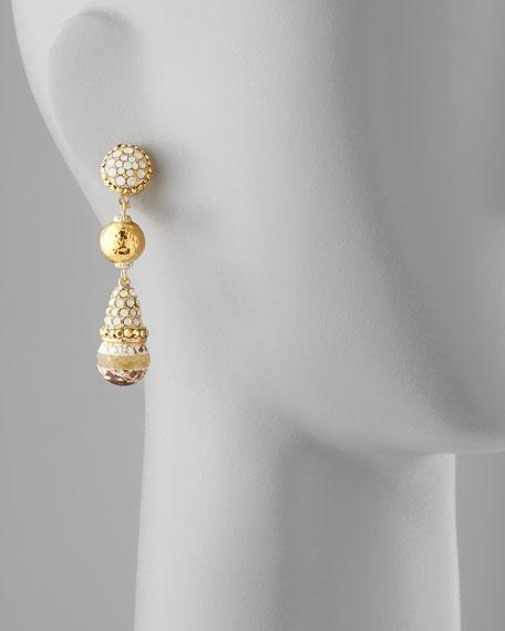 Three-Stone Drop Earrings, Natural