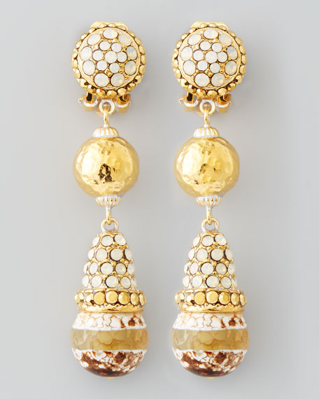 Three-Stone Drop Earrings, Natural