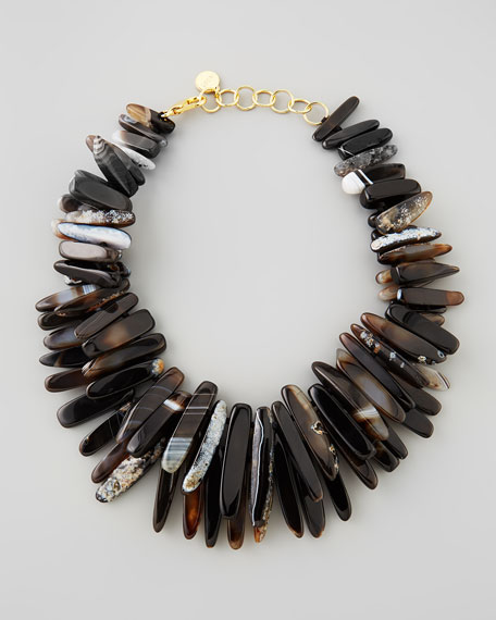 Black Agate Spike Necklace