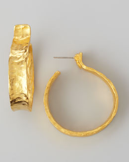 Kenneth Jay Lane Hammered Satin Golden Hoop Earrings