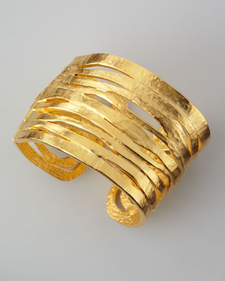 Hammered Satin Golden Cuff