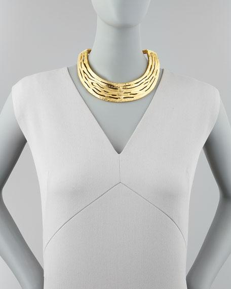 Hammered Satin Golden Collar Necklace