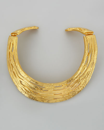Kenneth Jay Lane Hammered Satin Golden Collar Necklace