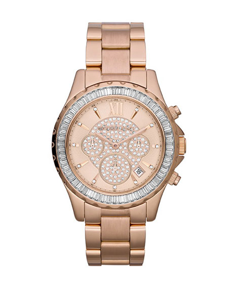 Mid-Size Rose Golden Stainless Steel Madison Chronograph Glitz Watch