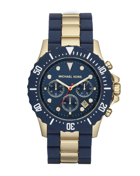 Oversize Two-Tone Navy/Golden Stainless Steel Everest Chronograph Watch