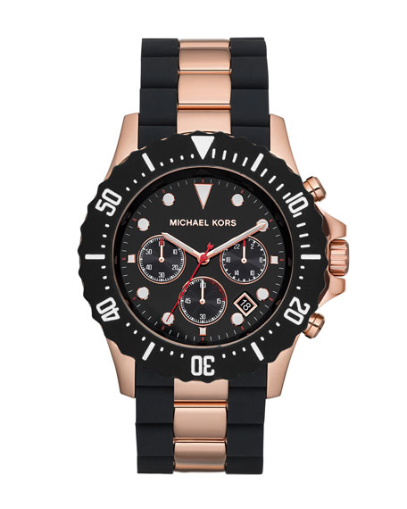Oversize Two-Tone Black/Rose Golden Stainless Steel Everest Chronograph Watch